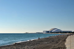 View of the beach in the Olympic village of Sochi Royalty Free Stock Photos