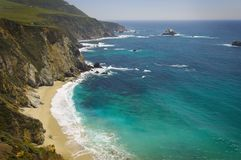 View Of The Beach And The Pacific Ocean Near Big Sur Royalty Free Stock Image