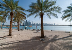 View beach Palm Jumeirah and the skyscrapers of Dubai Marina Stock Photos