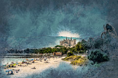 View of the beach of Palma de Mallorca. With gorgeous cathedral building. Palma-de-Mallorca, Balearic islands, Spain. Vintage painting, background illustration Stock Photos