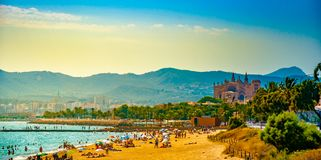 View of the beach of Palma de Mallorca. With people lying on sand and the gorgeous cathedral building visible in background. Palma-de-Mallorca, Balearic islands royalty free stock photography