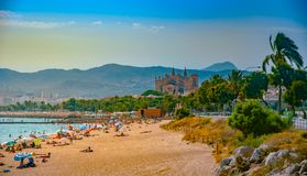 View of the beach of Palma de Mallorca. With people lying on sand and the gorgeous cathedral building visible in background. Palma-de-Mallorca, Balearic islands Royalty Free Stock Images