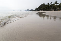 View of the beach with perspective in Huahin Beach, Thailand. View between sea and sand on the beach with perspective in Huahin beach, Thailand Royalty Free Stock Photos