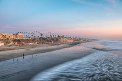 California Oceanside beach at sunset Stock Photos