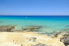 View on the beach Playa de Morro Jable on Fuerteventura, Spain. Royalty Free Stock Photo