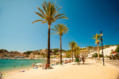 View of the beach of Port de Soller Royalty Free Stock Photo