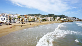 View of the beach promenade of Sitges Stock Photography