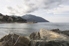 View from the beach of Recco Stock Images
