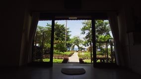 View from the hotel at the sea. View from the beach resort, the hotel on the sea. Hotel room and beach landscape. Travel concept stock footage