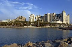 View on the beach and resort hotels in Eilat city Stock Image
