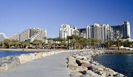 View on the beach and resort hotels in Eilat city Stock Photography