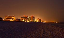 View of beach and resorts at night Royalty Free Stock Image
