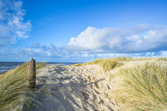 View on the beach from the sand dunes Royalty Free Stock Photography