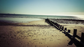 View of beach. Sand sea sky beach blue summer lowtide Stock Images