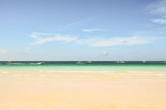 View of a beach and the sea of Boracay. Island in Philippines with many boats and tourist stock images