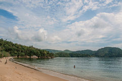 View of beach, sea and forest on cloudy day in Paraty Mirim. stock images