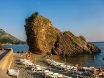 View on beach sea and mountain in Montenegro Stock Photo