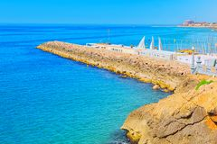 View of the beach and the sea shore of a small resort town Sitge. S in the suburbs of Barcelona Stock Photography