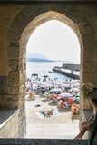 View of the beach in the Sicilian town of Cefalu Stock Photos