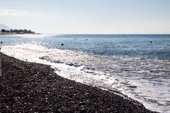 View of the beach in Sochi, Russia. View of the beach of Black Sea in Sochi, Russia stock image