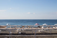 View of the beach in Sochi, Russia. View of the beach of Black Sea in Sochi, Russia royalty free stock photo