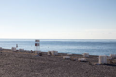 View of the beach in Sochi, Russia. View of the beach of Black Sea in Sochi, Russia stock images