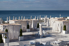 View of the beach in Sochi, Russia. View of the beach of Black Sea in Sochi, Russia stock photos