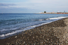 View of the beach in Sochi, Russia. View of the beach of Black Sea in Sochi, Russia Stock Photo