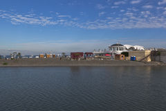 View of the beach Star from the marine station in Sochi Stock Images