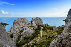 View of the beach of Sudak, Crimean Peninsula, Black sea Stock Photography