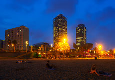 View of  Beach in summer night in Barcelona Royalty Free Stock Photos