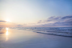 View of beach sunrise at dawn. View of beach sunrise in ocean stock images