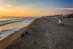View of the beach at sunset, in Huntington Beach  Royalty Free Stock Photo