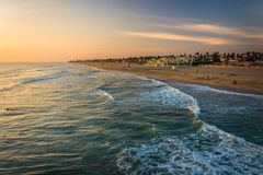 View of the beach at sunset, in Huntington Beach  Royalty Free Stock Photography