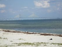 Sunshine Skyway Bridge. View from the beach of the Sunshine Skyway Bridge, Tampa Bay, Florida royalty free stock image