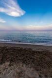 View of Beach in Torremolinos in evening Stock Images