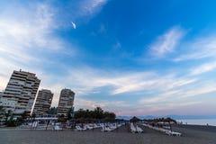View of Beach in Torremolinos in evening Stock Photos