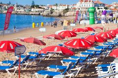 View of a beach in the touristic village Stock Image