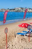 View of a beach in the touristic village Royalty Free Stock Photos