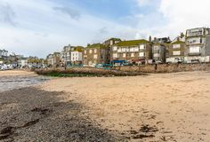 View from the beach towards St Ives, at Low Tide in North Cornwall, UK royalty free stock images