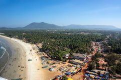 View of the beach from the tower-gopuram in Murudeshwar, India. stock images