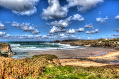 View of the beach at Treyarnon Bay Cornwall England UK Cornish north coast between Newquay and Padstow in colourful HDR Royalty Free Stock Photos