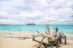 The view of a beach  on uninhabited island Half Moon Cay (The Ba. Hamas Royalty Free Stock Photo