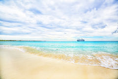 The view of a beach  on uninhabited island Half Moon Cay (The Ba Royalty Free Stock Photography