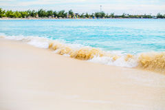 The view of a beach  on uninhabited island Half Moon Cay (The Ba. Hamas Royalty Free Stock Images