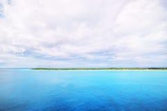 The view of a beach  on uninhabited island Half Moon Cay (The Ba Stock Image
