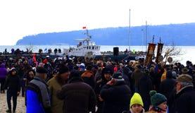 January 6 th 2019 Epiphany day procession Varna beach stock photo