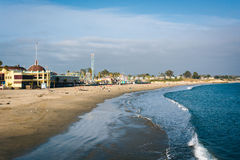 View of the beach from the Wharf in Santa Cruz  Royalty Free Stock Photo