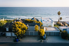 View of beachfront homes in Malibu, California. Stock Photo