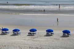 View of beachgoers and shade umbrellas, Jacksonville Beach, Florida,2015 Stock Images